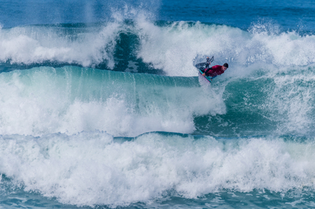 VIANA DO CASTELO, PORTUGAL - SEPTEMBER 22, 2016: Dave Hubbard (HAW) during  the Viana World Bodyboard Championship 2016. Editorial
