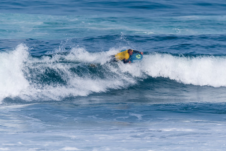 VIANA DO CASTELO, PORTUGAL - SEPTEMBER 22, 2016: Maxime Castillo (FRA) during  the Viana World Bodyboard Championship 2016. Editorial