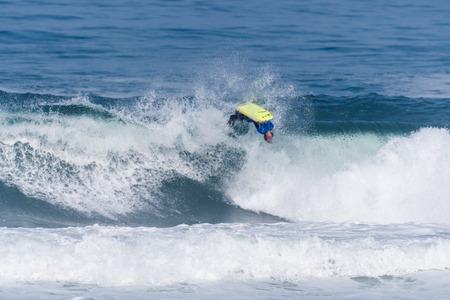 bodyboarder: VIANA DO CASTELO, PORTUGAL - SEPTEMBER 22, 2016: Ethan Nel (RSA) during  the Viana World Bodyboard Championship 2016.