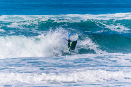 bodyboarder: VIANA DO CASTELO, PORTUGAL - SEPTEMBER 22, 2016: Iain Campbell (RSA) during  the Viana World Bodyboard Championship 2016. Editorial