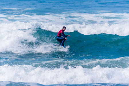 VIANA DO CASTELO, PORTUGAL - SEPTEMBER 22, 2016: Iain Campbell (RSA) during  the Viana World Bodyboard Championship 2016. Editorial