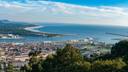 lima region: Aerial view on the center of Viana do Castelo, a famous city in the Northern part of Portugal