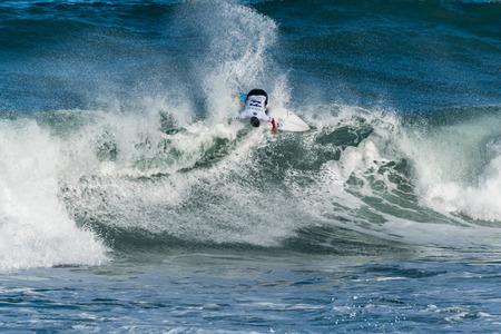 CASCAIS, PORTUGAL - SEPTEMBER 28, 2016: Nomme Mignot (FRA) during the 2016 Billabong Pro Cascais at Guinchos Beach - Cascais, Portugal. Editorial
