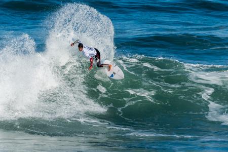 CASCAIS, PORTUGAL - SEPTEMBER 28, 2016: Marco Fernandez (BRA) during the 2016 Billabong Pro Cascais at Guinchos Beach - Cascais, Portugal. Editorial