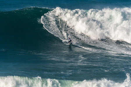 NAZARE, PORTUGAL - DECEMBER 20, 2016: Aaron Gold (HAW) during the Nazare Challenge 2016 - Big Wave Tour #3 at Praia do Norte - Nazare, Portugal. Editorial