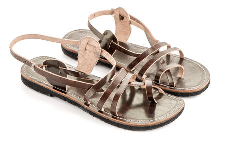Leather women sandals of ethnic design from India.
