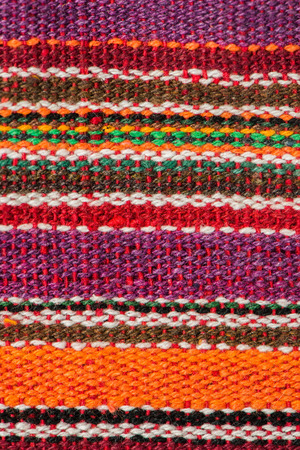 Closeup detail of multi color fabric texture. Stock Photo