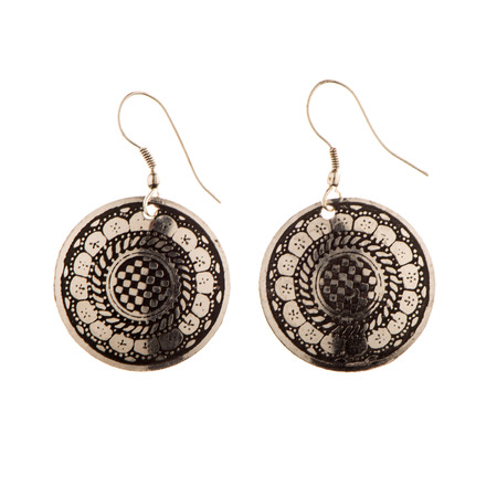 Indian traditional earrings isolated on white background Stock Photo