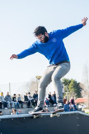 MURTOSA, PORTUGAL - FEBRUARY 19, 2017: Tiago Silva during  the Murtosas Skate Park Opening event. Editorial