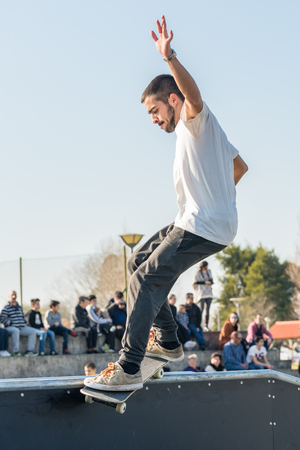 tough man: MURTOSA, PORTUGAL - FEBRUARY 19, 2017: Francisco Lopes during  the Murtosas Skate Park Opening event. Editorial