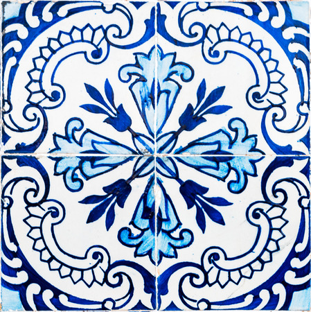shiny floor: Closeup detail of old Portuguese glazed tiles. Stock Photo