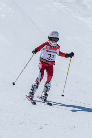 COVILHA, PORTUGAL - APRIL 2, 2017:  Barbara Silva during the National Ski  Championships at Serra da Estrela, Covilha, Portugal. Editorial