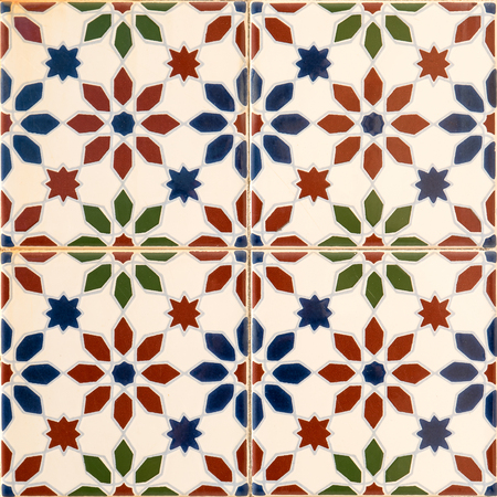 floor covering: Closeup detail of old Portuguese glazed tiles. Stock Photo