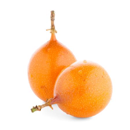 Passion fruit maracuja granadilla on white background. Stock Photo