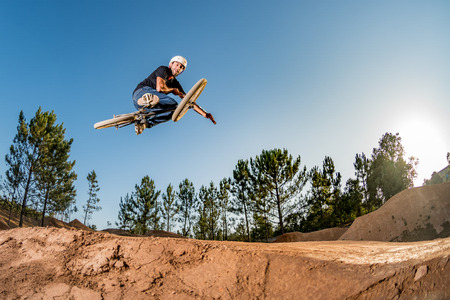 Bmx Table Top on a dirt track. Stock Photo