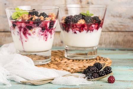 Yoghurtwoestijn met frambozen, bramen en munt. Stockfoto