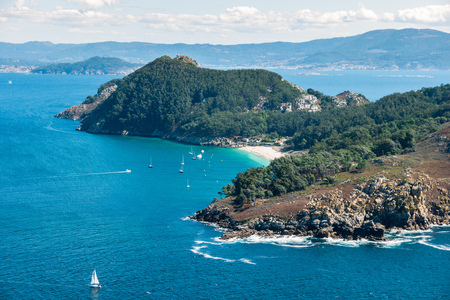 ISLAS CIES, SPAIN - CIRCA SEPTEMBER 2017: Praia de San Martino, Illa de San Martino on the Cies Islands of Spain, included in the Atlantic Islands of Galicia National Park. Editorial