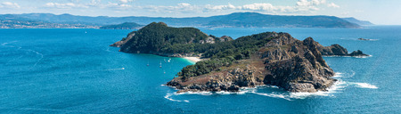 ISLAS CIES, SPAIN - CIRCA SEPTEMBER 2017: Illa de San Martino on the Cies Islands of Spain, included in the Atlantic Islands of Galicia National Park. 新闻类图片