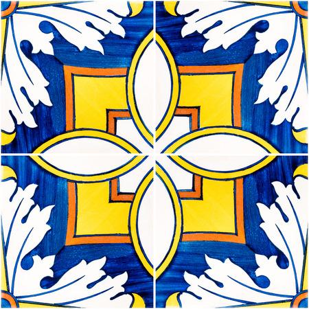 Closeup detail of old Portuguese glazed tiles. Banco de Imagens