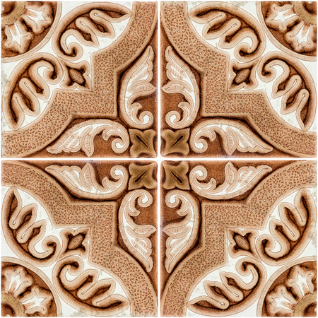 Closeup detail of old Portuguese glazed tiles. Stock Photo