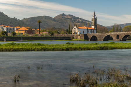 Santo Antonio da Torre Velha church with roman bridge in Ponte de Lima town, Portugal.