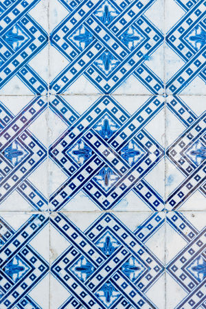 Closeup detail of old Portuguese glazed tiles. 写真素材