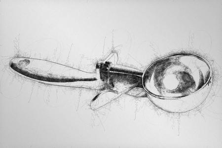 Ball pen scribble illustration of metal ice cream scoop isolated on white bbackground. Reklamní fotografie