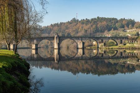 Bridge of Ponte da Barca, ancient portuguese village, on Minho river, north of Portugal Stock Photo