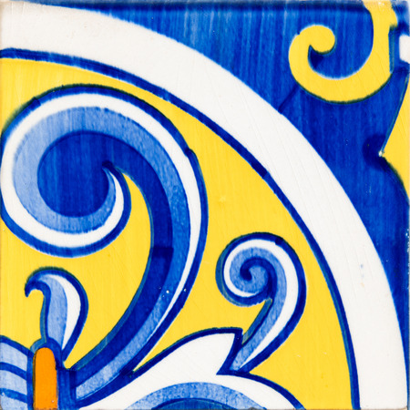 Closeup detail of old Portuguese glazed tiles. 版權商用圖片