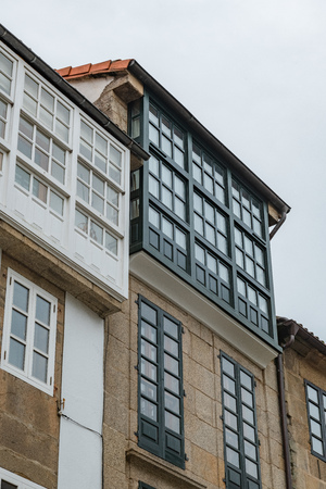 Architecture details in Santiago de Compostela, northern Spain. Фото со стока