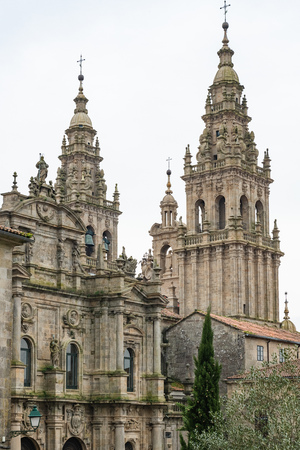 Santiago de Compostela cathedral facade detail. Baroque facade detail. Ancient architecture.