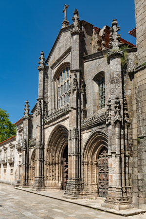 View of the main facade of the Cathedral of Lamego, Portugal. Фото со стока