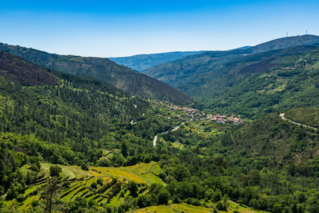 Viewpoint of the Terraces (Miradouro dos Socalcos), overlooking the Agricultural terraces (famous Tibete style landscape view), Porta Cova place, Sistelo, Arcos de Valdevez, Portugal. Stock Photo