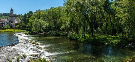 Vez river and village of Arcos de Valdevez, in Minho, Portugal. Stock Photo
