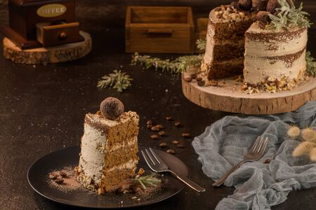 Slice of delicious naked coffee and hazelnuts cake on table rustic wood kitchen countertop. Standard-Bild - 134846013