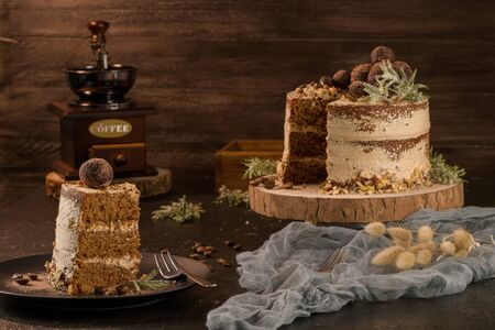Slice of delicious naked coffee and hazelnuts cake on table rustic wood kitchen countertop. Standard-Bild - 134846062