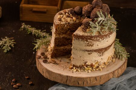 Slice of delicious naked coffee and hazelnuts cake on table rustic wood kitchen countertop. Standard-Bild - 134846078