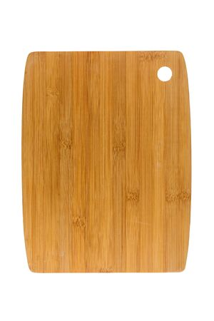 Rectangle shaped bamboo wood kitchen cutting board  isolated on white background. Banco de Imagens