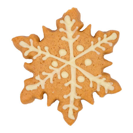 Tasty homemade Christmas cookie on white background.