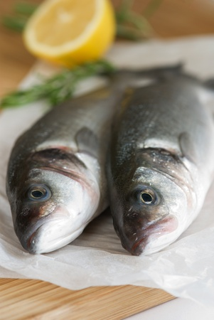 eating fish: Two fresh sea bass with lemon and rosemary