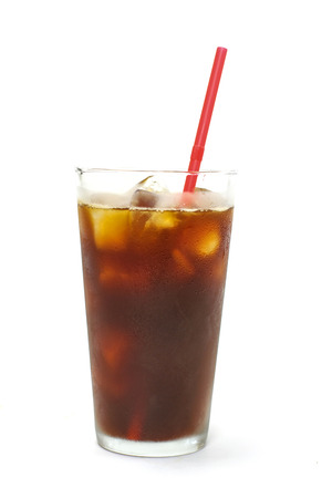 iced coffee: Iced coffee black coffee in white background Stock Photo