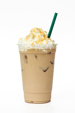 iced coffee: Iced coffee cafe latte with cream and caramel