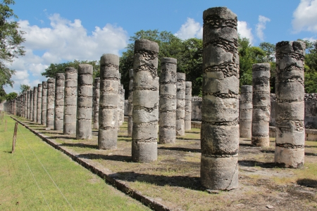 Columns in the Temple of a Thousand Warriors, Chichen Itza, Yucatan, Mexico  photo