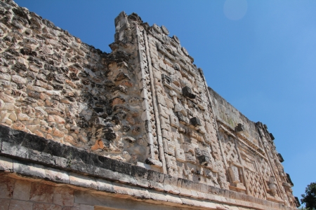 pre columbian: Ancient Mayan ruins in Uxmal, Yucatan, Mexico Stock Photo