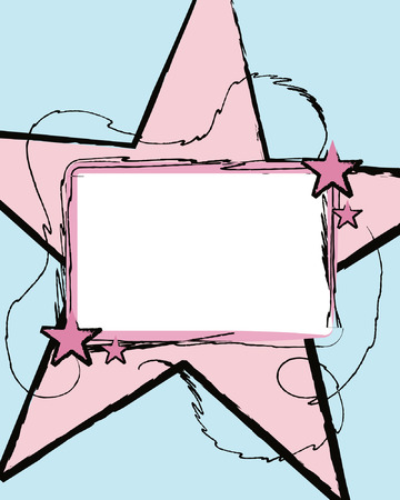 Label with Large Pink Star