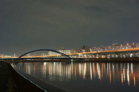sumida ku: Sumida River along the night view Stock Photo