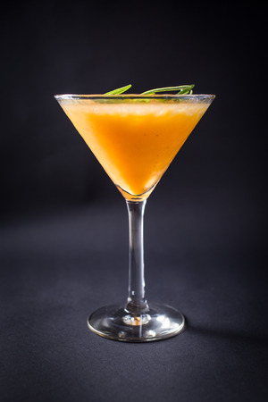 Fresh alcohol coctail drink on black background