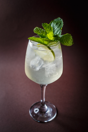 Glass of Martini cocktail with ice, lime and mint on elegant dark brown background.