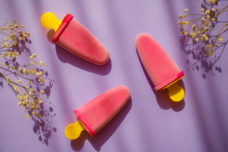 3 Frozen natural purple ice cream and field flowers on colorful violet background with shadows. Sweet summer.