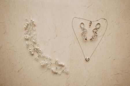 Bride's Accessories on wedding day. Chain looks like heart.